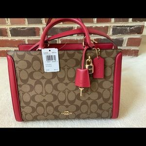COACH RED ZOE CARRYALL BAG IN SIGNATURE CANVAS